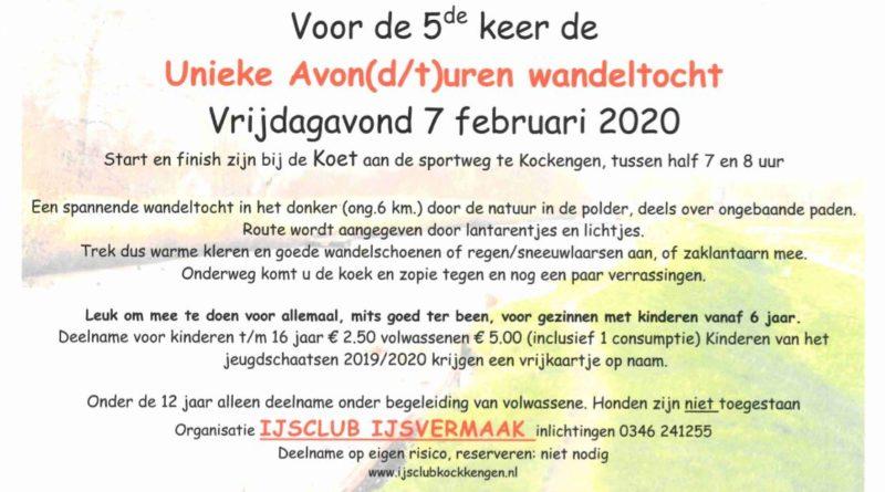 Vrijdag 7 februari 2020 Unieke Avond(d/t)uren Wandeltocht